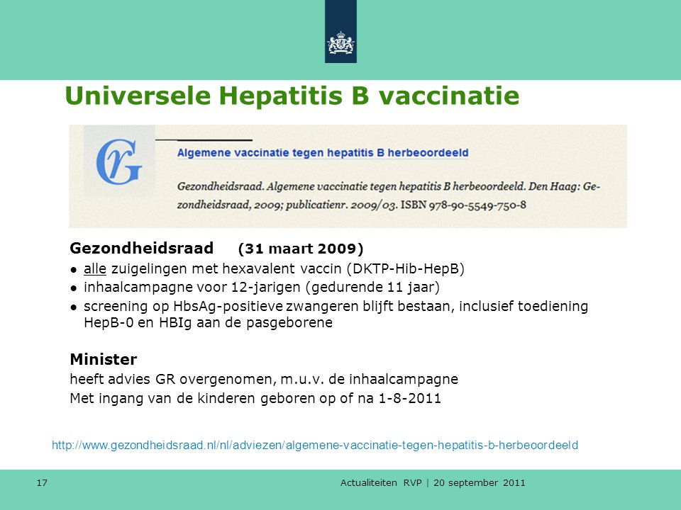 Universele Hepatitis B vaccinatie
