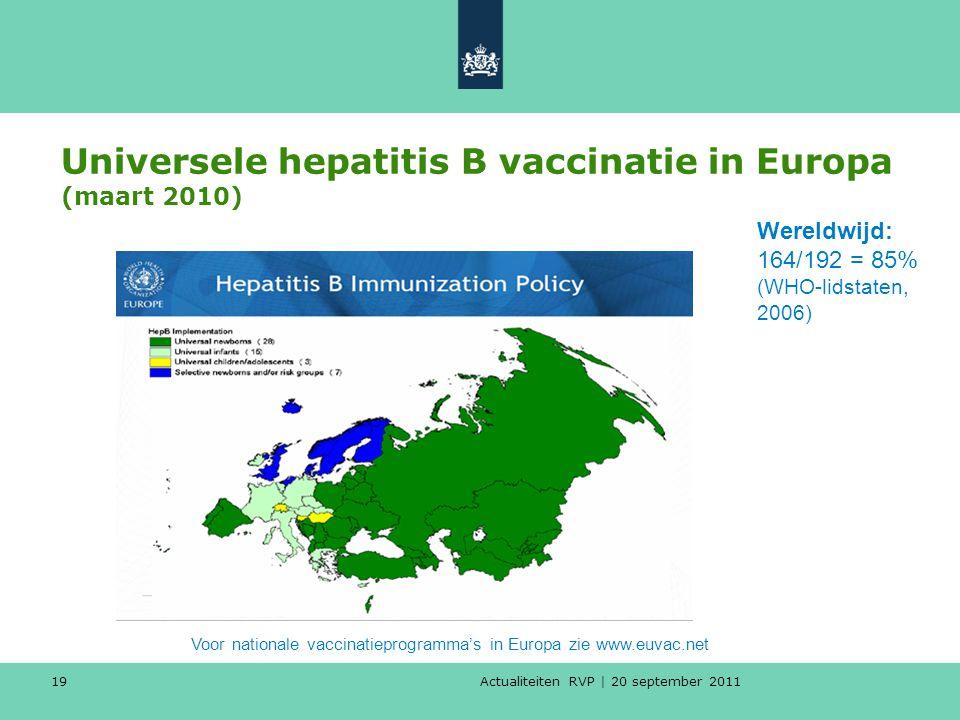 Universele hepatitis B vaccinatie in Europa (maart 2010)