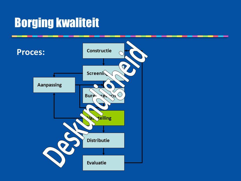 Borging kwaliteit Deskundigheid Proces: Constructie Screening