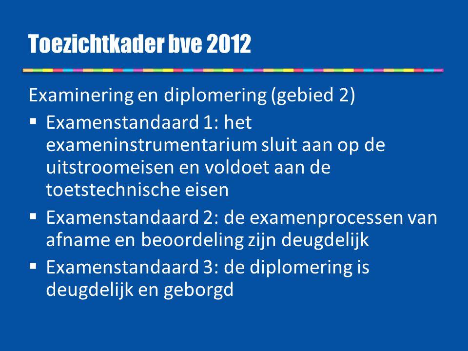 Toezichtkader bve 2012 Examinering en diplomering (gebied 2)
