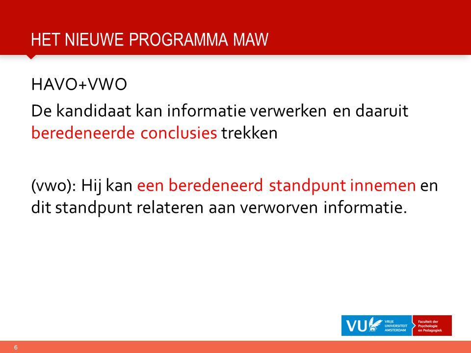het nieuwe programma MaW