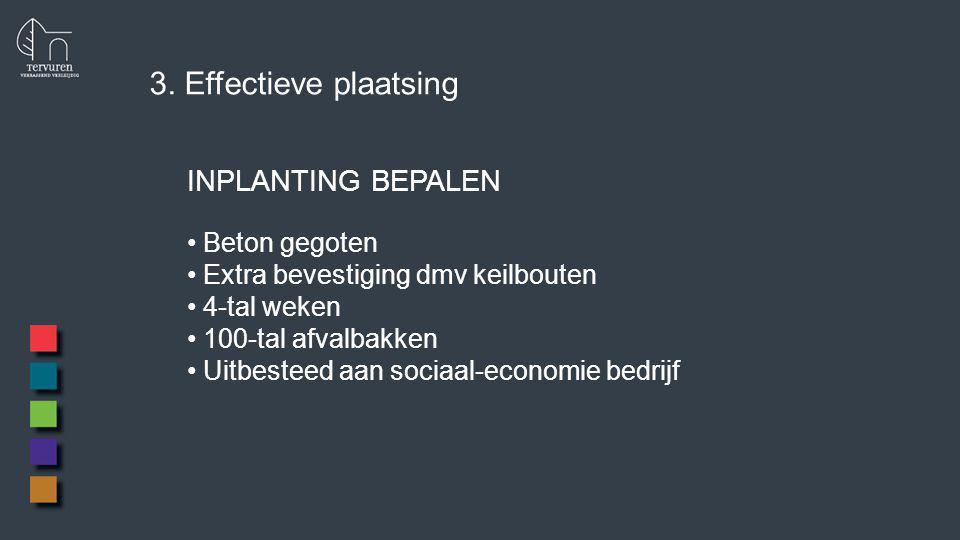 3. Effectieve plaatsing INPLANTING BEPALEN Beton gegoten