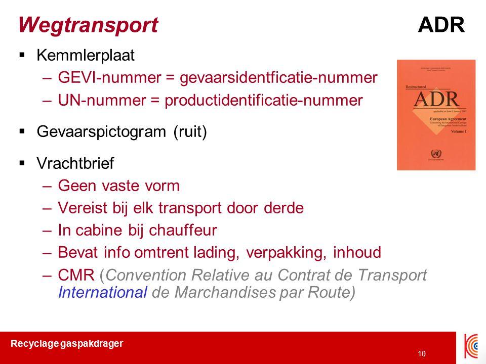 Wegtransport ADR Kemmlerplaat GEVI-nummer = gevaarsidentficatie-nummer