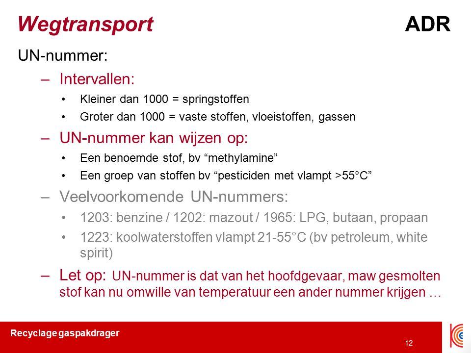 Wegtransport ADR UN-nummer: Intervallen: UN-nummer kan wijzen op: