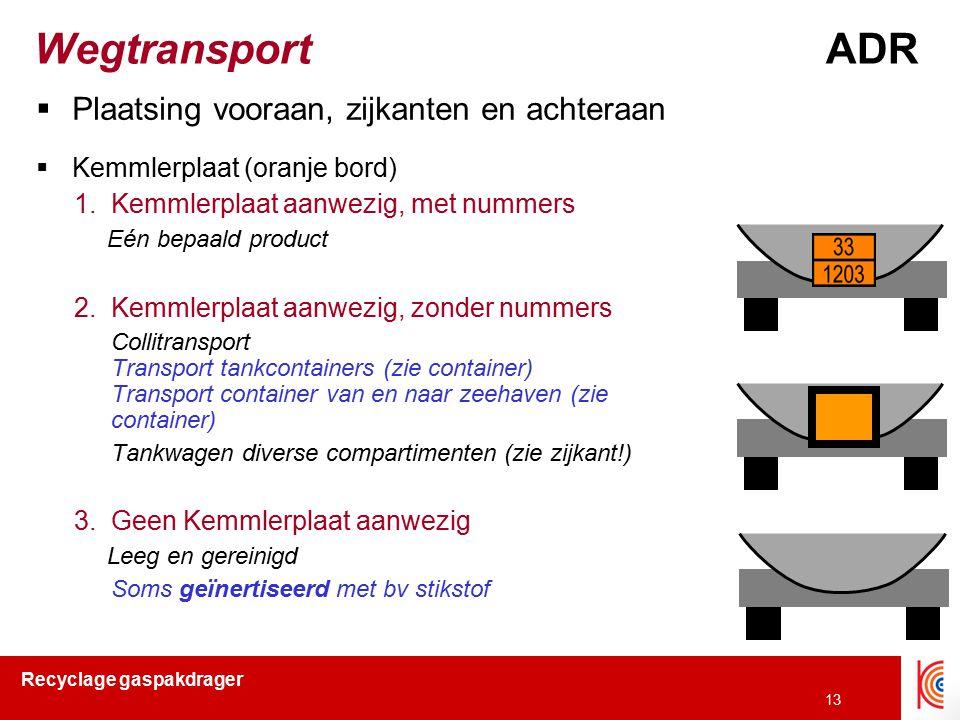 Wegtransport ADR Plaatsing vooraan, zijkanten en achteraan