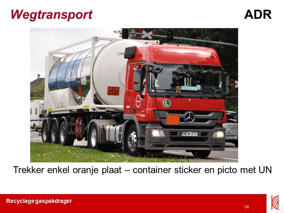 Wegtransport ADR Trekker enkel oranje plaat – container sticker en picto met UN