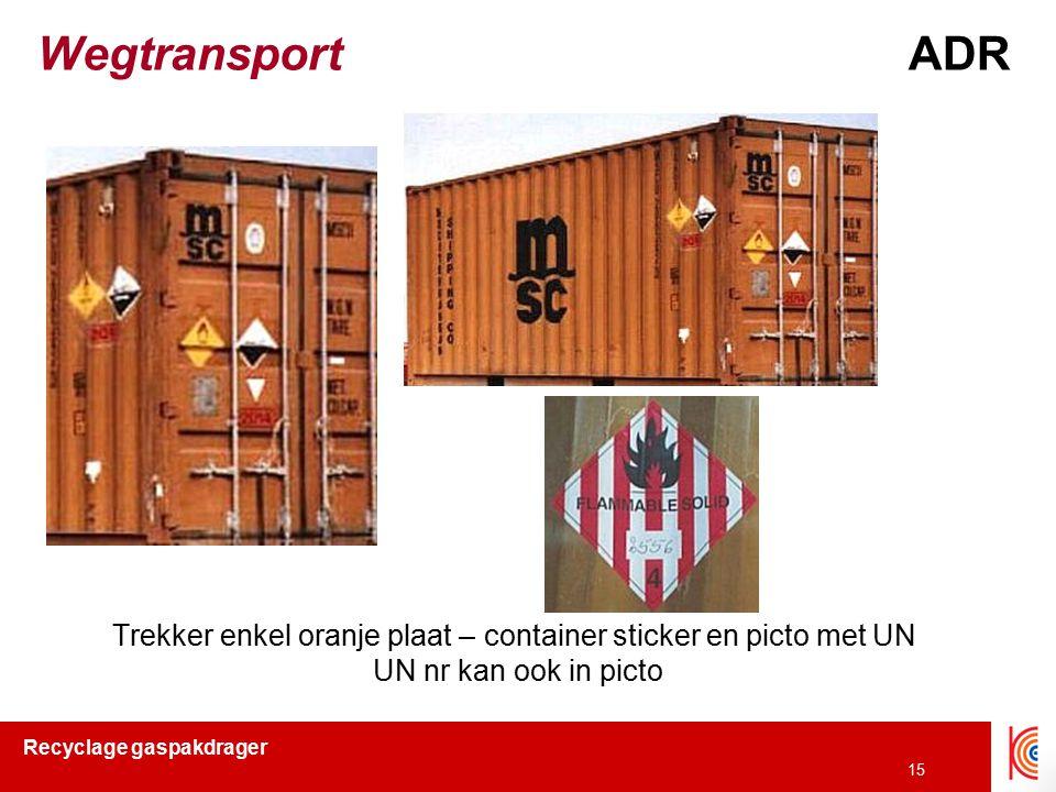 Trekker enkel oranje plaat – container sticker en picto met UN