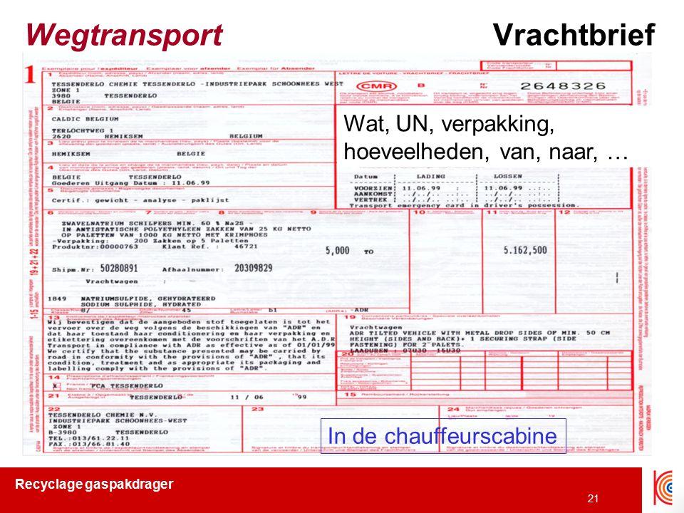 Wegtransport Vrachtbrief