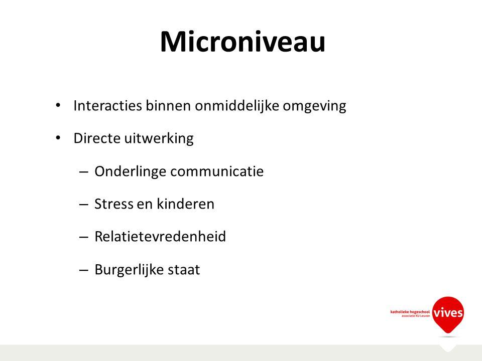 Microniveau Interacties binnen onmiddelijke omgeving
