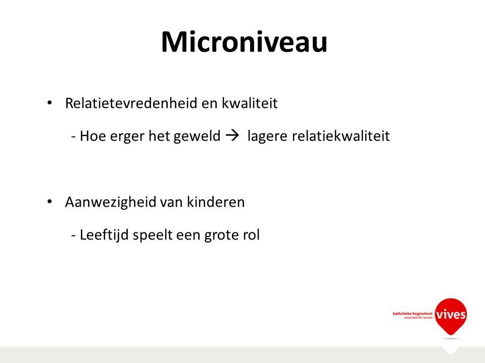 Microniveau Relatietevredenheid en kwaliteit