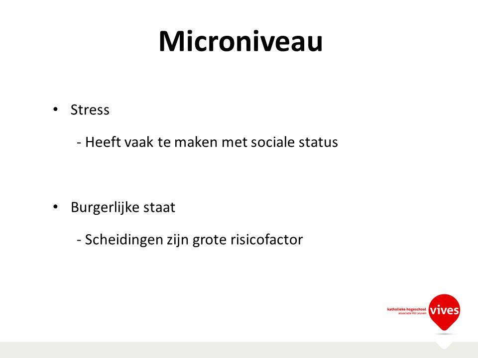 Microniveau Stress - Heeft vaak te maken met sociale status