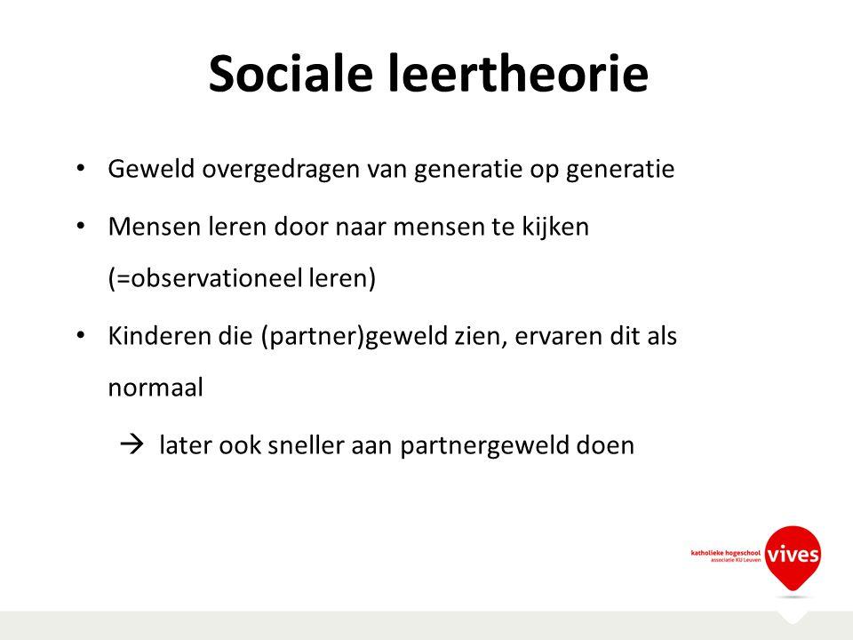 Sociale leertheorie Geweld overgedragen van generatie op generatie