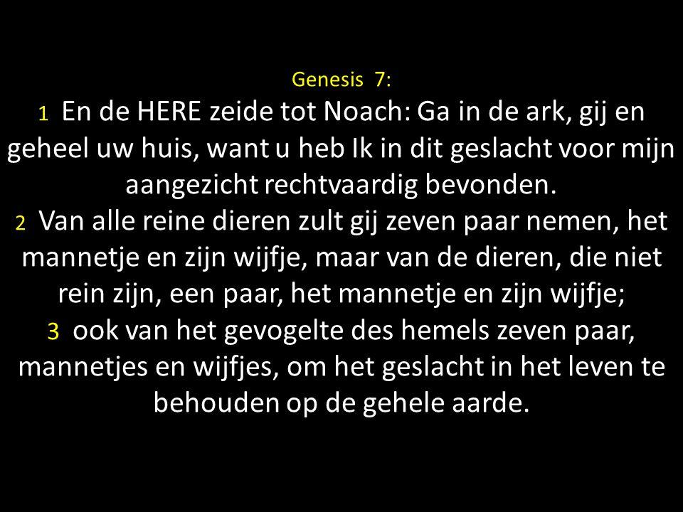 Genesis 7: 1 En de HERE zeide tot Noach: Ga in de ark, gij en geheel uw huis, want u heb Ik in dit geslacht voor mijn aangezicht rechtvaardig bevonden.