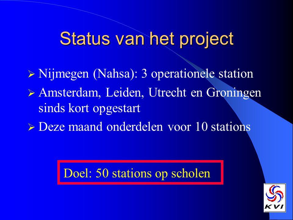 Status van het project Nijmegen (Nahsa): 3 operationele station