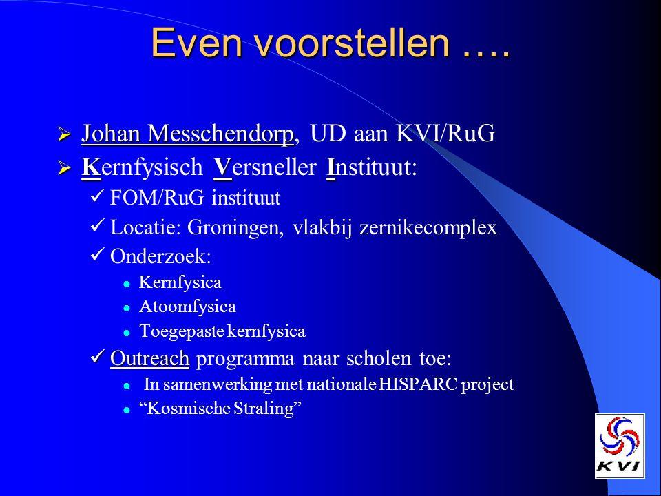 Even voorstellen …. Johan Messchendorp, UD aan KVI/RuG