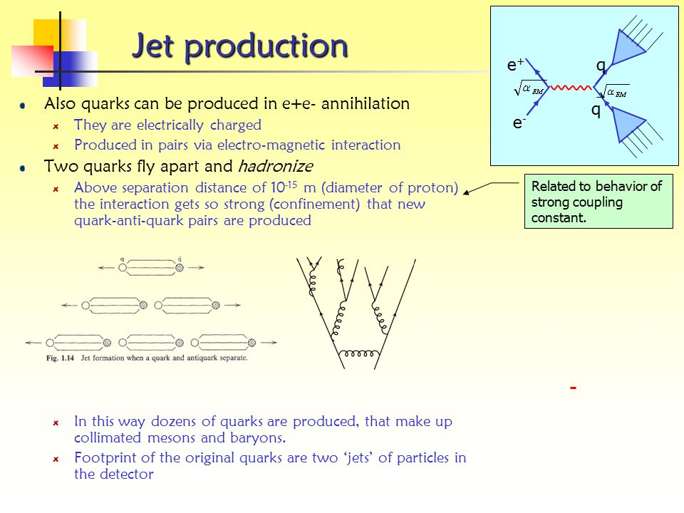 e- e+ q. Jet production. Also quarks can be produced in e+e- annihilation. They are electrically charged.