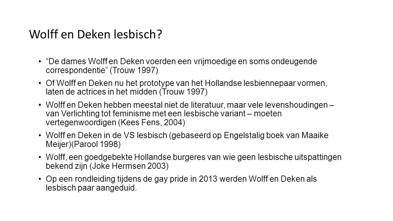 Wolff en Deken lesbisch