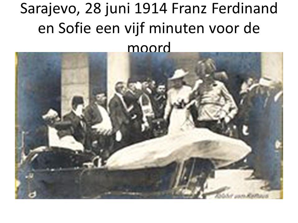 Sarajevo, 28 juni 1914 Franz Ferdinand en Sofie een vijf minuten voor de moord