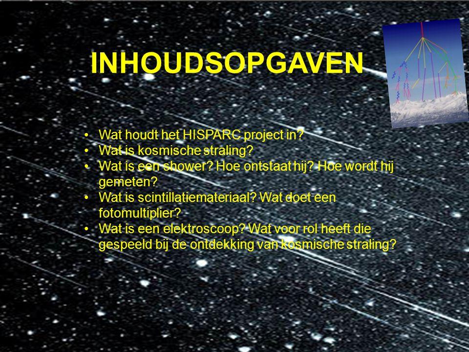 INHOUDSOPGAVEN Wat houdt het HISPARC project in