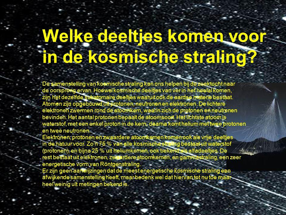 Welke deeltjes komen voor in de kosmische straling