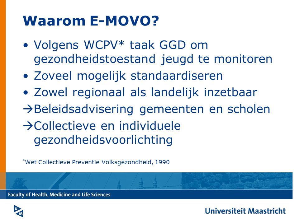Waarom E-MOVO Volgens WCPV* taak GGD om gezondheidstoestand jeugd te monitoren. Zoveel mogelijk standaardiseren.