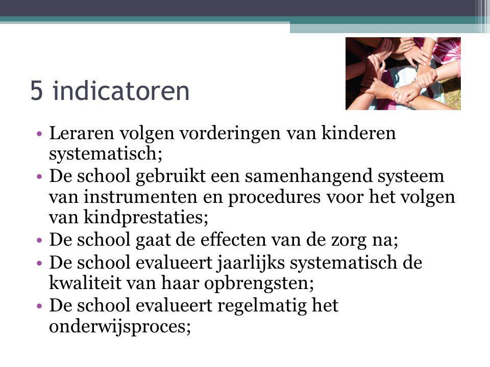 5 indicatoren Leraren volgen vorderingen van kinderen systematisch;