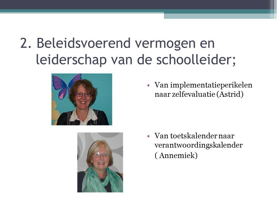 2. Beleidsvoerend vermogen en leiderschap van de schoolleider;