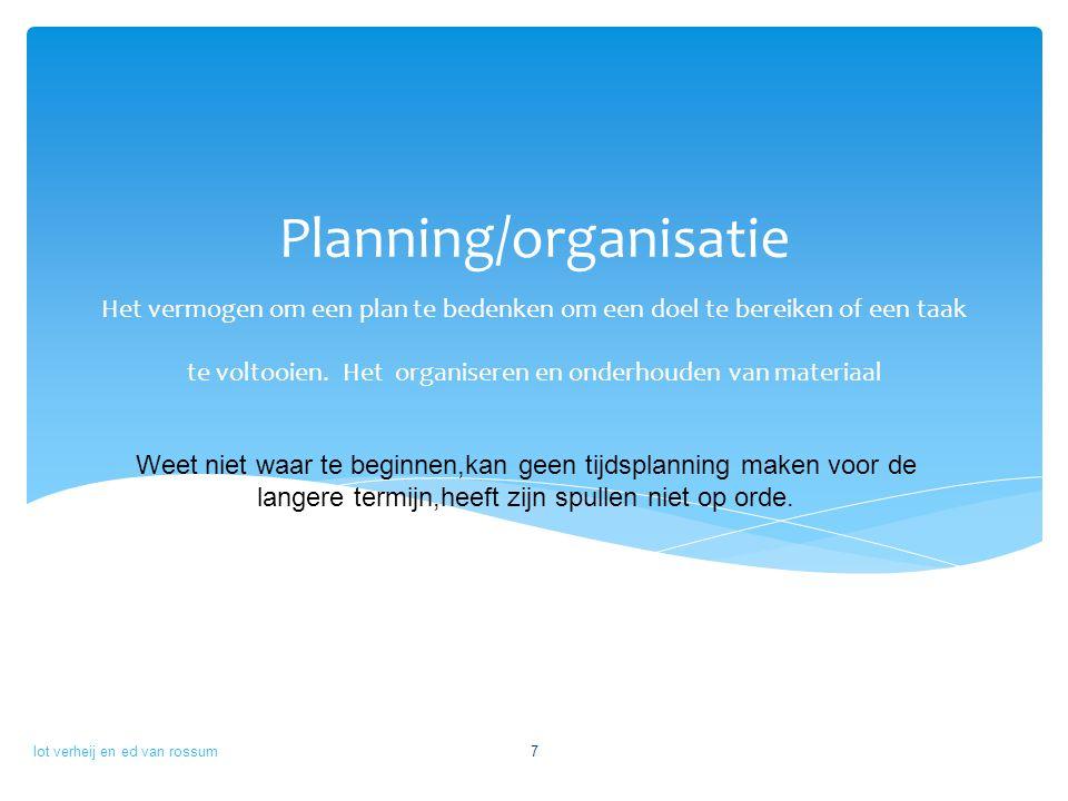 Planning/organisatie