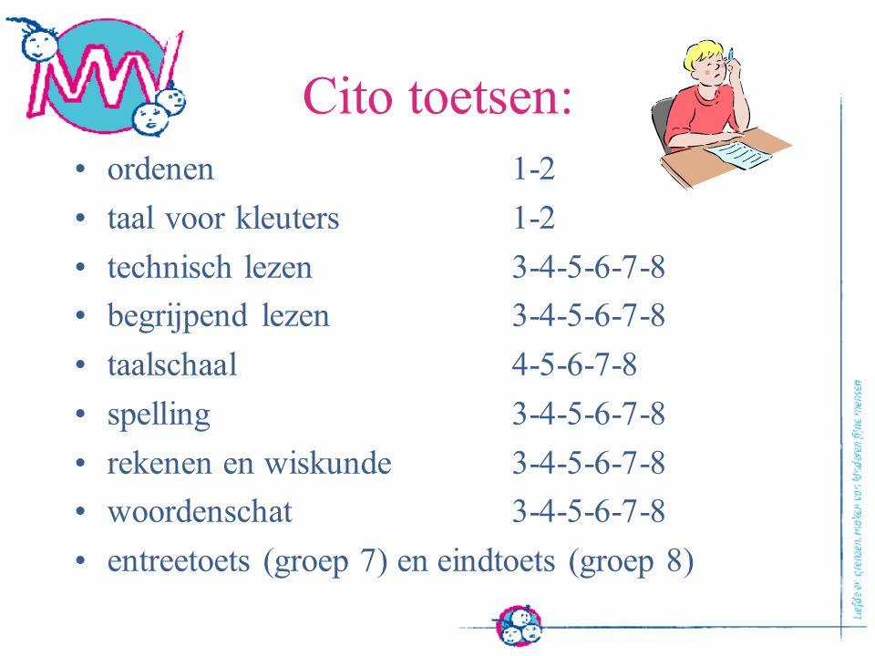 Cito toetsen: ordenen 1-2 taal voor kleuters 1-2
