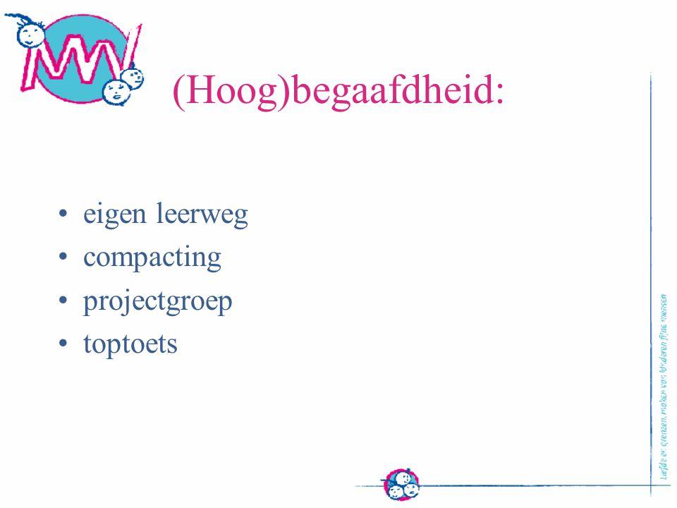 (Hoog)begaafdheid: eigen leerweg compacting projectgroep toptoets