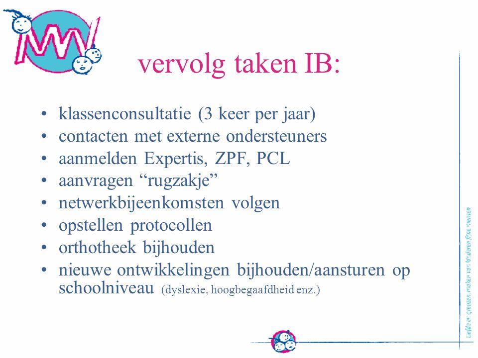 vervolg taken IB: klassenconsultatie (3 keer per jaar)