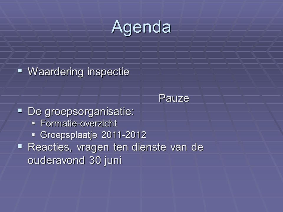 Agenda Waardering inspectie Pauze De groepsorganisatie: