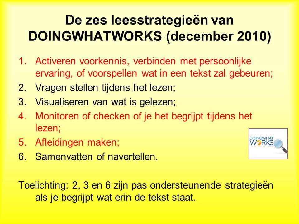 De zes leesstrategieën van DOINGWHATWORKS (december 2010)