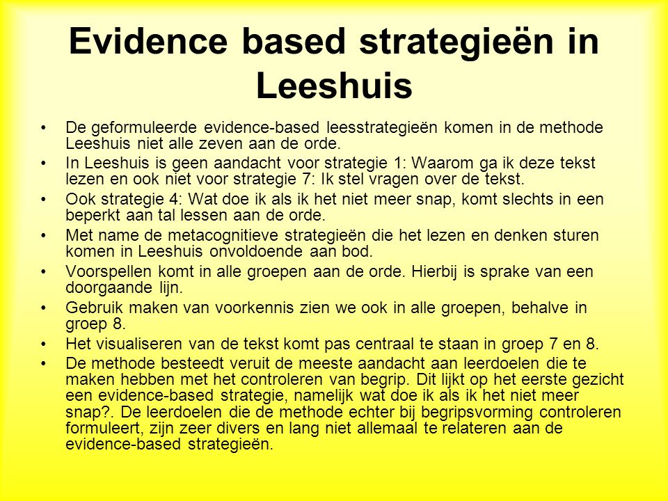 Evidence based strategieën in Leeshuis