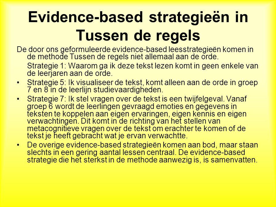 Evidence-based strategieën in Tussen de regels