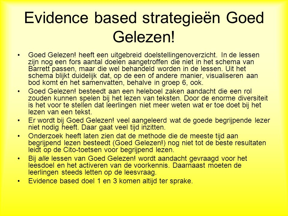 Evidence based strategieën Goed Gelezen!