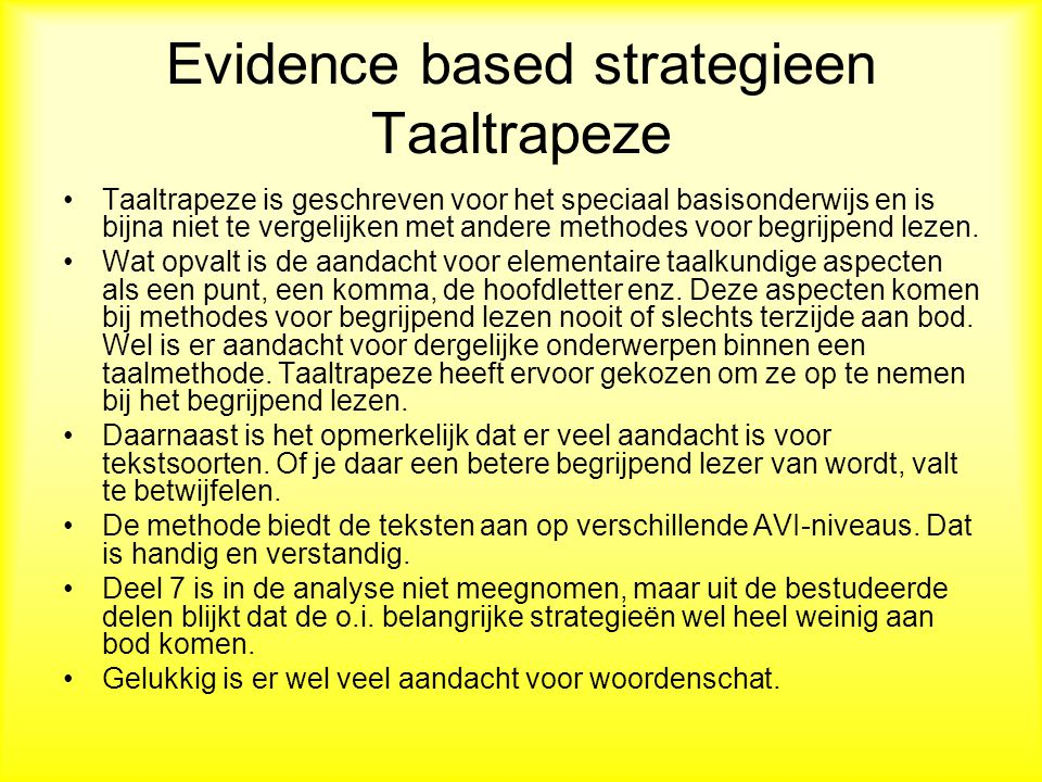 Evidence based strategieen Taaltrapeze