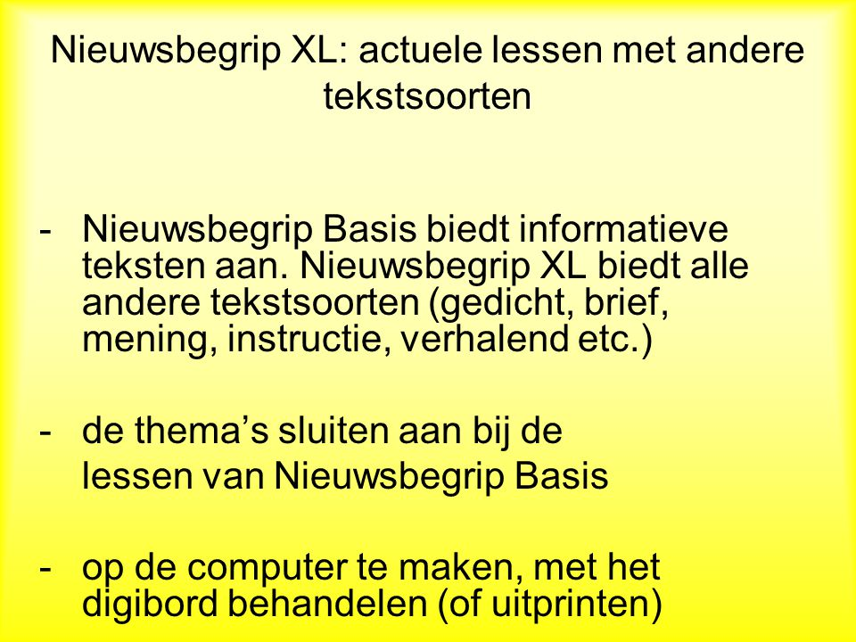 Nieuwsbegrip XL: actuele lessen met andere tekstsoorten