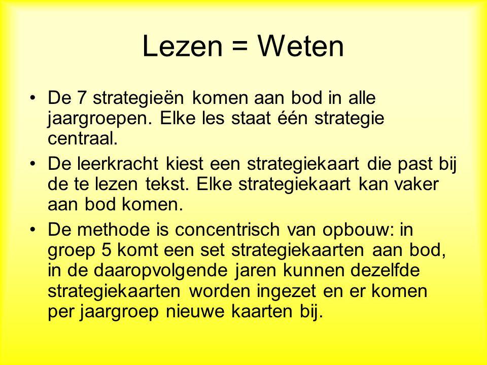 Lezen = Weten De 7 strategieën komen aan bod in alle jaargroepen. Elke les staat één strategie centraal.
