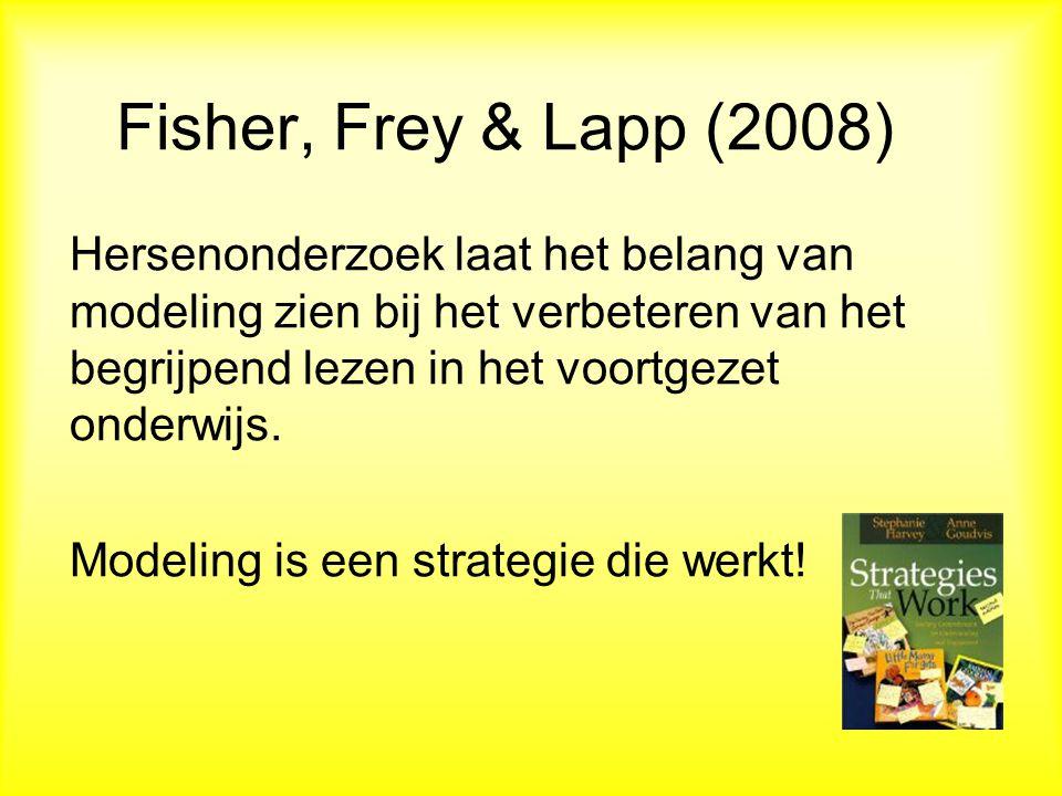 Fisher, Frey & Lapp (2008) Hersenonderzoek laat het belang van modeling zien bij het verbeteren van het begrijpend lezen in het voortgezet onderwijs.