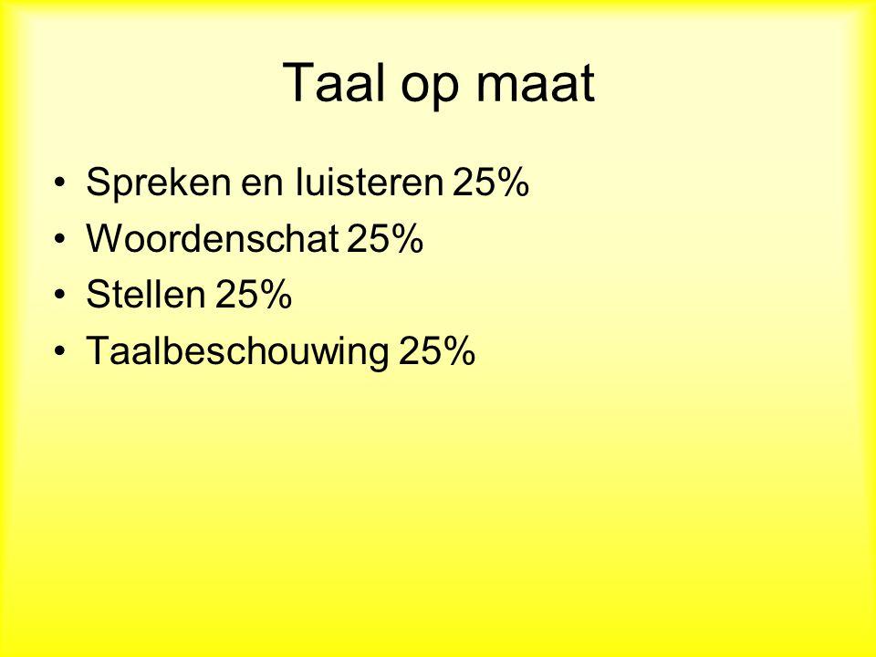 Taal op maat Spreken en luisteren 25% Woordenschat 25% Stellen 25%