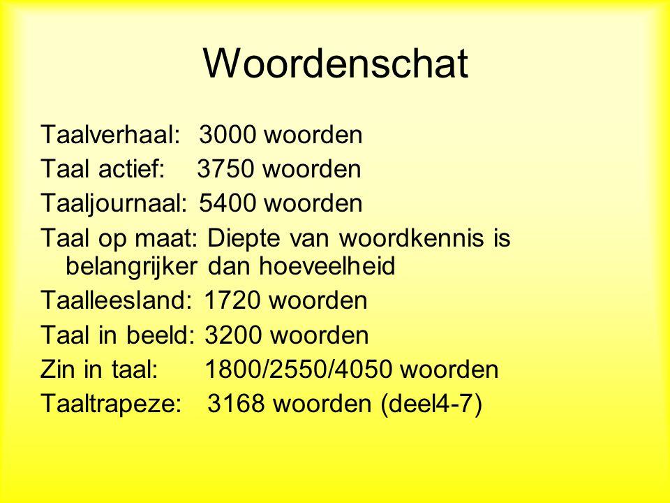 Woordenschat Taalverhaal: 3000 woorden Taal actief: 3750 woorden