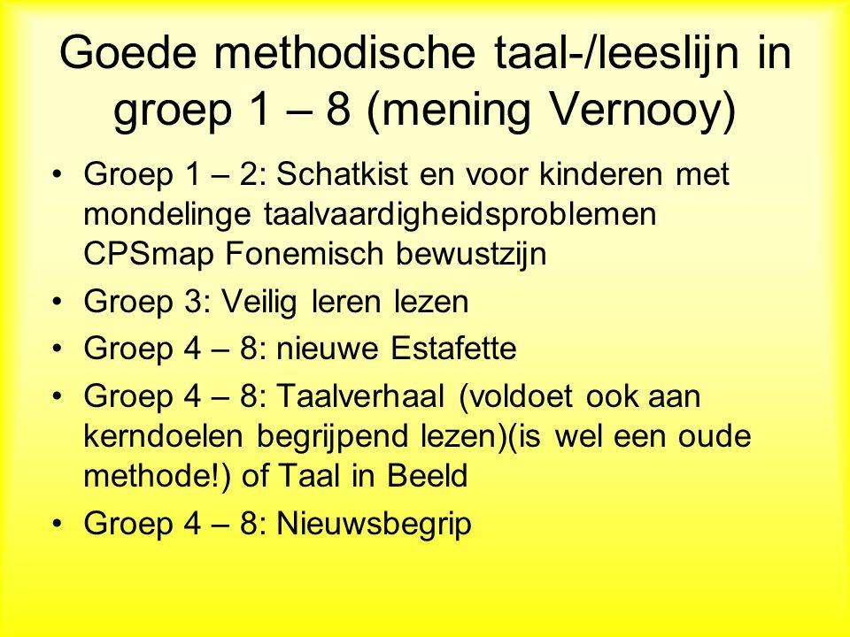 Goede methodische taal-/leeslijn in groep 1 – 8 (mening Vernooy)