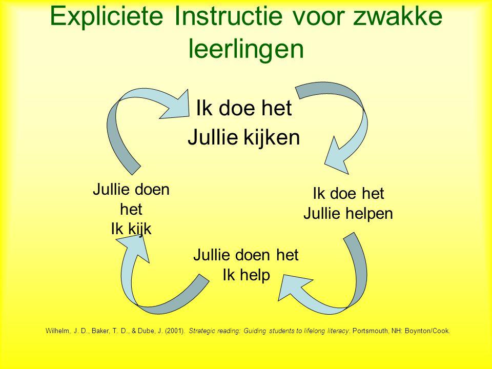 Expliciete Instructie voor zwakke leerlingen