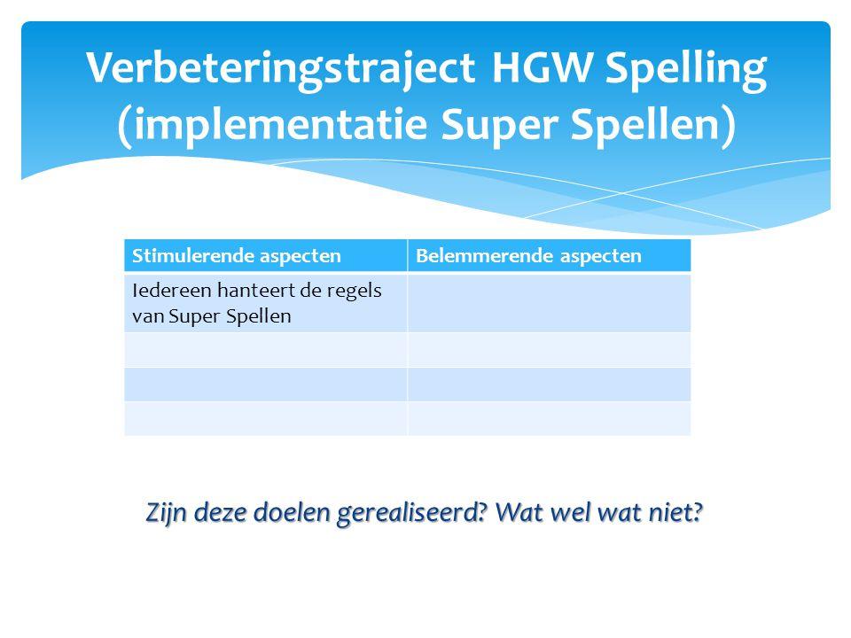 Verbeteringstraject HGW Spelling (implementatie Super Spellen)