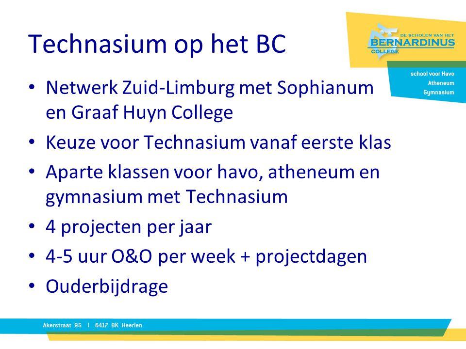 Technasium op het BC Netwerk Zuid-Limburg met Sophianum en Graaf Huyn College. Keuze voor Technasium vanaf eerste klas.
