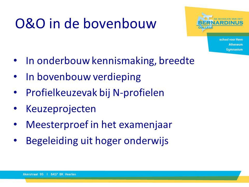 O&O in de bovenbouw In onderbouw kennismaking, breedte