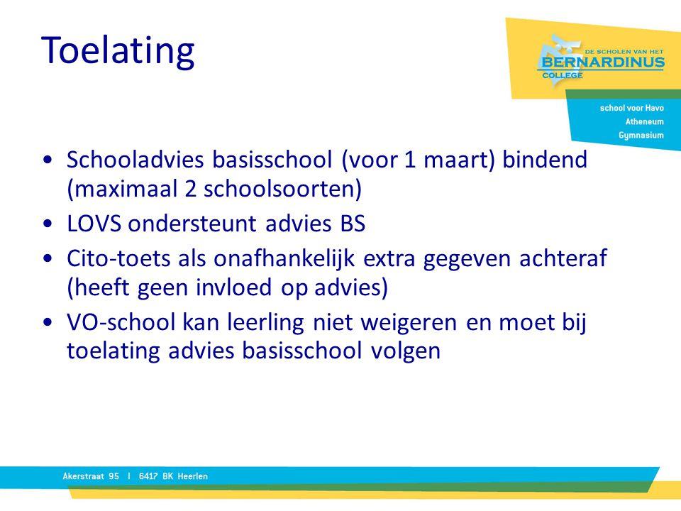Toelating Schooladvies basisschool (voor 1 maart) bindend (maximaal 2 schoolsoorten) LOVS ondersteunt advies BS.
