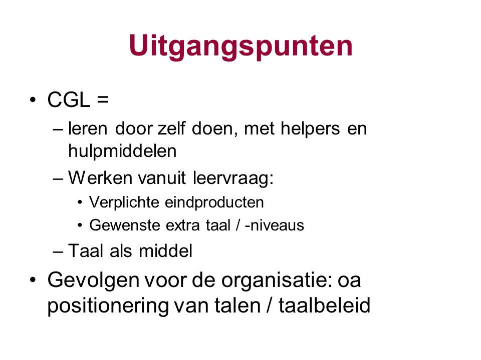 Uitgangspunten CGL = leren door zelf doen, met helpers en hulpmiddelen. Werken vanuit leervraag: Verplichte eindproducten.