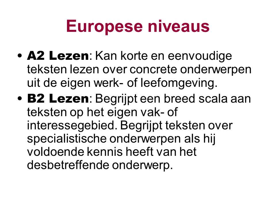 Europese niveaus A2 Lezen: Kan korte en eenvoudige teksten lezen over concrete onderwerpen uit de eigen werk- of leefomgeving.
